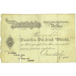 imitation £5 note, advertising Dunville's Old Irish Whisky