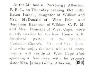 marriage announcement: Benjamin Beer Dumville and Helen Isabelle MacDonald