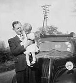 photograph: Denis Dumville and his daughter Carole, photograph taken 1946