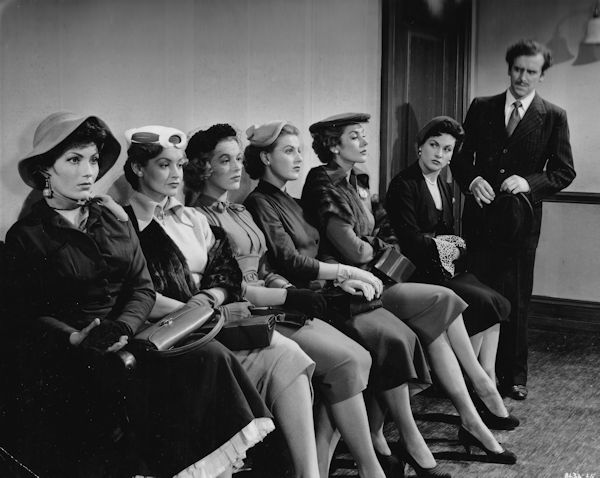 """The Constant Husband"" (1955): Valerie French, Ursula Howells, Jill Adams, Roma Dumville, Kay Kendall, Nicole Maurey, George Cole"