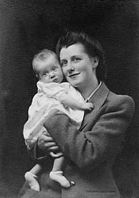 photograph: Eveline Mary Dumville (née Hornby) and her daughter Carole, photograph taken 1945