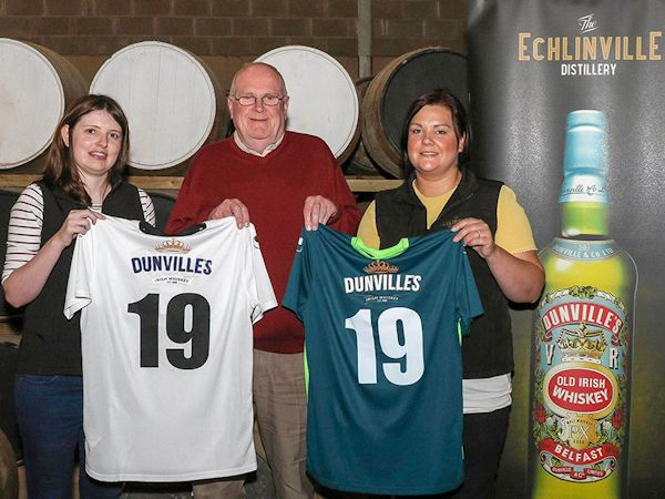 Lisburn Distillery Football Club shirts, Dunville's logo, Clare Quinn, Terry Thompson, Suzanne McCullough, photograph by David Hunter