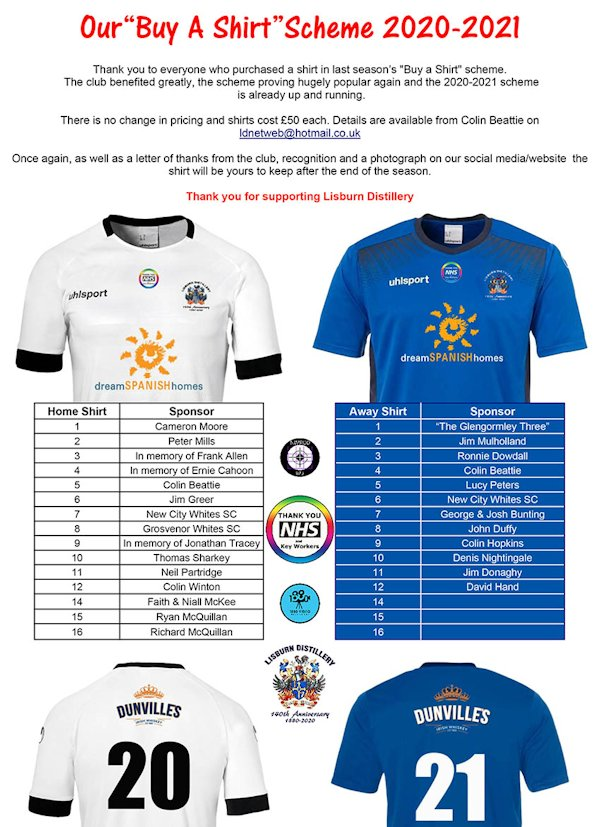 "Lisburn Distillery Football Club's ""Buy A Shirt"" Scheme (a Dunville's shirt!)"