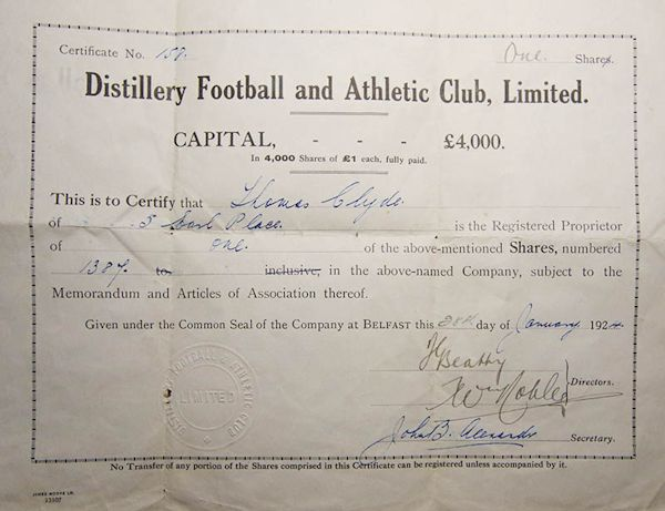 Dunville Football and Athletic Club, Limited, 1924 Share Certificate