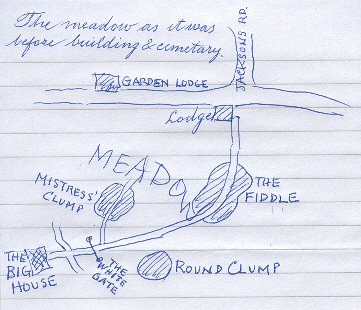 Map of the meadow at Redburn, drawn by Gordon Thompson