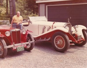 Harry Charles Dumville and two of his vintage cars