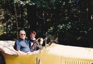 Harry and his daughter Sue in his Studebaker Bearcat