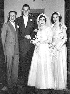 photograph: Kenneth and Sheila Dumville with best man and Margaret Dumville
