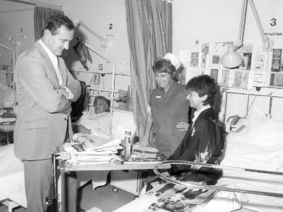 Ted Dexter, Sister O'Brien and Jill Holroyd in the Middlesex Hospital