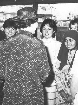 The Queen visits the British Council in Spring Gardens, London WC1, 14 June 1984 (Jill Holroyd is on the left).