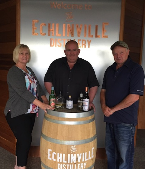 Kirsten Young, Shane Braniff and Tom Young at The Echlinville Distillery on 27 June 2017