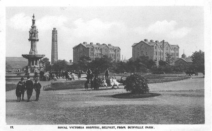 postcard: Royal Victoria Hospital, Belfast, from Dunville Park.