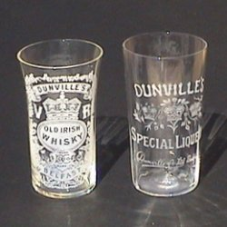 Dunville's V.R. Old Irish Whisky glass and Dunville's Three Crowns Special Liqueur glass