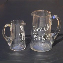 Dunville's Whisky glass water jugs