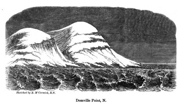 Domville Point, sketched by Robert McCormick, R.N., F.R.C.S., named after William Thomas Domville, C.B., M.D., R.N. (1822-1879)